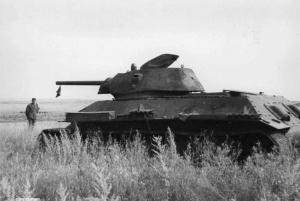 T-34/76 mod.42 de production STZ capturé par la 3a Div.cl. durant l'été 1942.